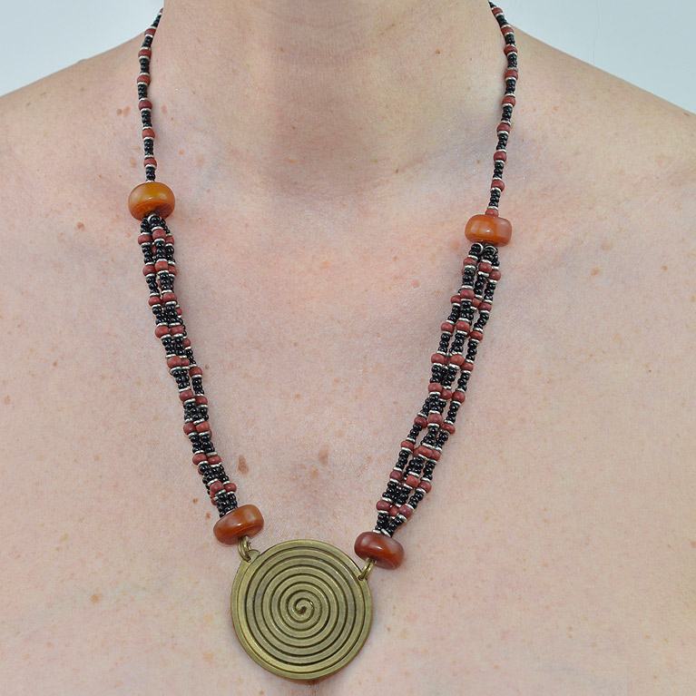 African bronze coil necklace