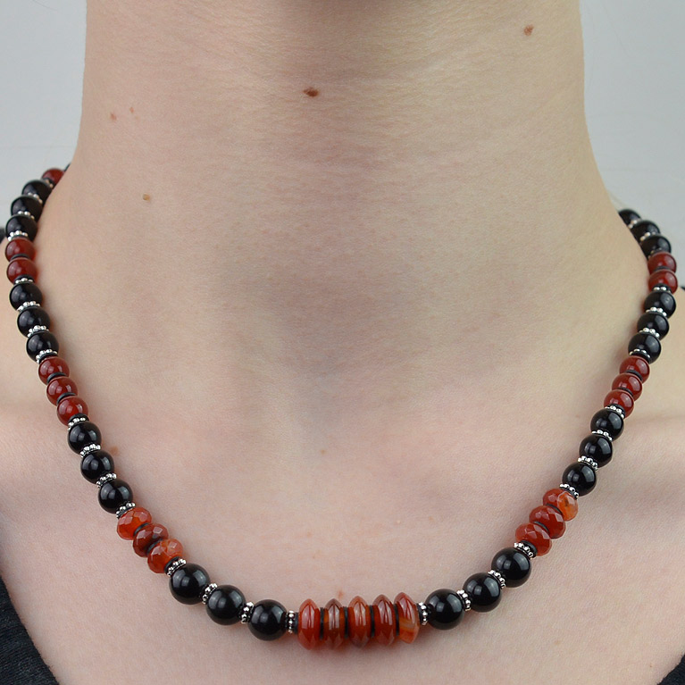 Carnelian and polished Onyx necklace