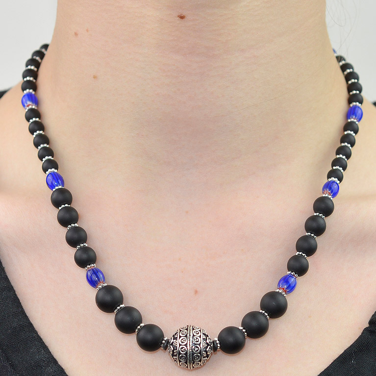 Blue chevron and matt onyx beaded necklace