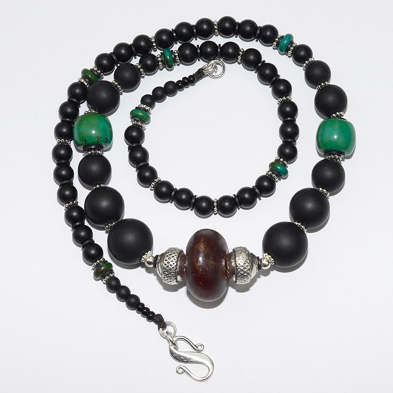 Black matt onyx beads with turquoise and antique silver and amber beads
