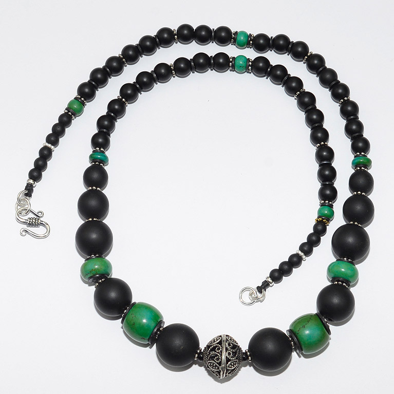 Silver Filigree Bead With Turquoise Amp Onyx Bead Necklaces