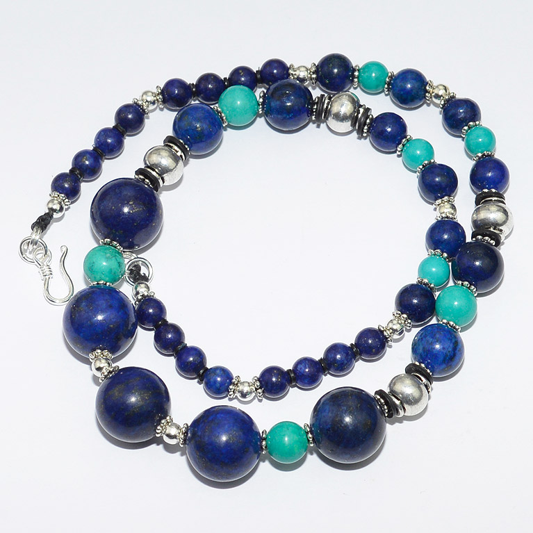 Lapis Lazuli and turquoise gemstone beaded chocker