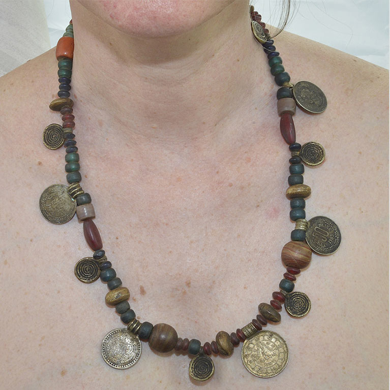 Nepalese tribal necklace with coins and glass beads