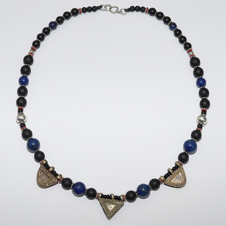 Onyx and lapis chocker with Ethiopian Silver amulets