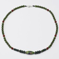 Jadeite, green and red agate and millefiori necklace