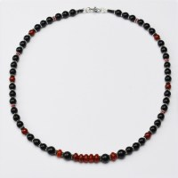 Carnelian and jet necklace