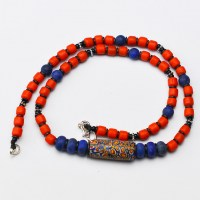 trade bead and coral colour glass bead necklace