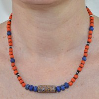 trade bead and coral padre glass bead necklace