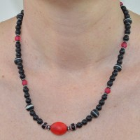 Antique red dutch trade bead necklace