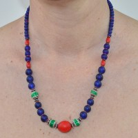 Green Chevton and Antique cobalt blue beaded necklace