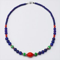 Red dutch antique bead with colbal blue glass beads necklace