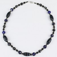 Trade Bead Necklace, skunk beads with black lamp beads