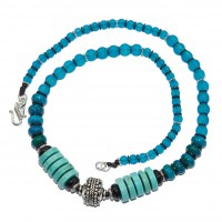 Faux Turquoise and Translucent glass bead necklace