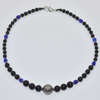 Matt onyx and blue cheron necklace with silver focal bead