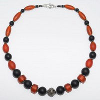 Necklace- matt onyx and vintage glass beads