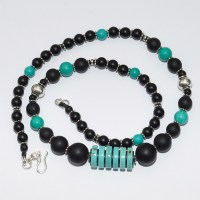 Turquoise Howlite and Matt Onyx Gemstone Necklace