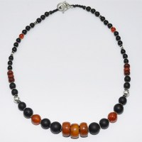Amber, onyx and silver bead necklace
