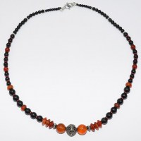 Carnelian, silver and onyx bead necklace