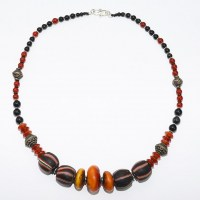 Carnelian and amber necklace with antique trade and onyx beads