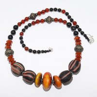 Carnelian. onyx, amber and trade bead necklace
