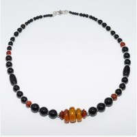 Necklace of amber, carnelian and smooth black onyx beads