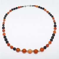 Carnelian, matt onyx and silver bead necklace