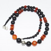 Antique silver, matt onyx and polished carnelian bead necklace