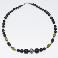 Matt onyx and green chevrons with filigree silver bead necklace