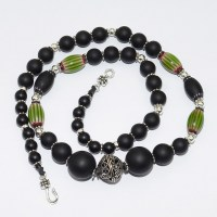 Green chevron and Matt onyx bead necklace