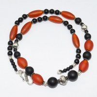 Frosted orange glass bead necklace